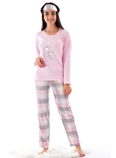 POKY Kadın Süprem Pamuklu Uzun Kol Pijama Takımı Pembe